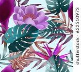 tropical flowers  jungle leaves.... | Shutterstock .eps vector #622510973