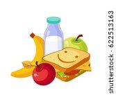 lunch food  sandwich  milk and... | Shutterstock .eps vector #622513163