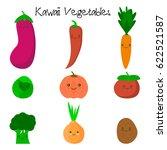 cute kawaii smiling vegetables. ... | Shutterstock . vector #622521587