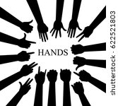 hand silhouettes set.... | Shutterstock . vector #622521803