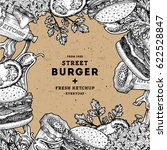 burger design template. linear... | Shutterstock .eps vector #622528847