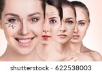 woman's faces with lifting... | Shutterstock . vector #622538003