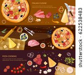 making pizza  fresh ingredients ... | Shutterstock .eps vector #622538483