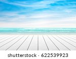 empty wooden table with party... | Shutterstock . vector #622539923