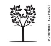 black tree with leaves. vector