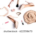 woman's trendy accessories on... | Shutterstock . vector #622558673