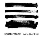set of black paint  ink brush... | Shutterstock .eps vector #622560113