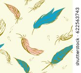 seamless feather pattern in... | Shutterstock .eps vector #622563743