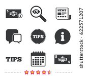 tips icons. cash with coin... | Shutterstock .eps vector #622571207