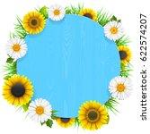 vector blue round wooden frame...   Shutterstock .eps vector #622574207