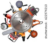 vector saw with power tools | Shutterstock .eps vector #622574213