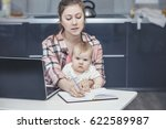 family mother works with a... | Shutterstock . vector #622589987