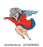 grandmother superwoman.happy... | Shutterstock .eps vector #622608383