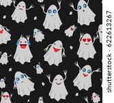 seamless pattern with halloween ... | Shutterstock .eps vector #622613267