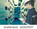 double exposure of  engineer or ... | Shutterstock . vector #622619357