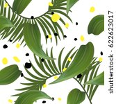 stylish pattern with leaves and ... | Shutterstock .eps vector #622623017