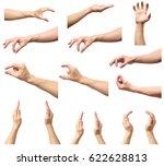 set of man hands measuring... | Shutterstock . vector #622628813