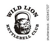 kettlebell club emblem  lion... | Shutterstock .eps vector #622641737