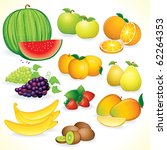 ripe fruits detailed... | Shutterstock . vector #62264353