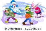 north wind blowing on children  | Shutterstock . vector #622645787