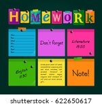 text homework and colorful... | Shutterstock .eps vector #622650617