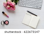 woman white desk with roses and ... | Shutterstock . vector #622673147
