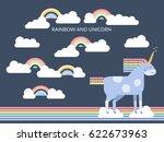 cute vector unicorn in flat...   Shutterstock .eps vector #622673963