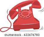 old red vintage phone ringing | Shutterstock .eps vector #622676783