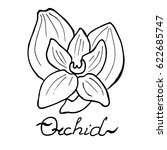 Orchid Logo Flower With Leaves...