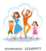 fun cartoon family in colorful... | Shutterstock .eps vector #622689977