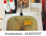 Small photo of Clog in kitchen sink, obstruction of water, clog pipes