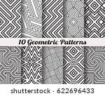 set of 10 geometric patterns.... | Shutterstock .eps vector #622696433