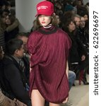 Small photo of NEW YORK, NY - FEBRUARY 12, 2017: Ania Chiz walks the runway at the Public School Fall Winter 2017 fashion show during New York Fashion Week at Milk Gallery