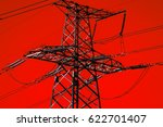 high voltage  power lines ....   Shutterstock . vector #622701407