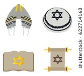 set of traditional jewish... | Shutterstock .eps vector #622714163