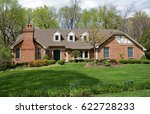 grand brick home with... | Shutterstock . vector #622728233