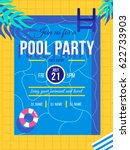 pool party invitation concept.... | Shutterstock .eps vector #622733903