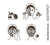 steps how to apply clay mask.... | Shutterstock .eps vector #622733927