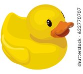 Rubber Ducky For Bath On White...