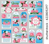 spring rose gift tag and... | Shutterstock .eps vector #622805297