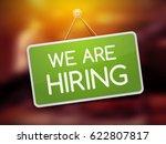 job offers concept. green door... | Shutterstock .eps vector #622807817