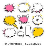 set of pop art explosion and... | Shutterstock .eps vector #622818293