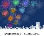 fireworks and town scape | Shutterstock .eps vector #622832843