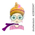 a cute girl with neckerchief.... | Shutterstock .eps vector #622833347