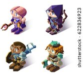 set of isometric role playing... | Shutterstock .eps vector #622836923