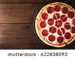 italian pepperoni pizza with... | Shutterstock . vector #622838093