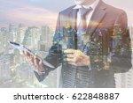 double exposure of businessman... | Shutterstock . vector #622848887
