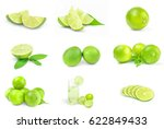 set of limes on a white... | Shutterstock . vector #622849433