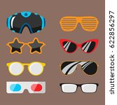 fashion set sunglasses... | Shutterstock .eps vector #622856297