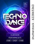 techno music poster. electronic ... | Shutterstock .eps vector #622865363